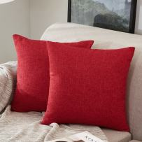 MERNETTE New Year/Christmas Decorations Cotton Linen Blend Decorative Square Throw Pillow Cover Cushion Covers Pillowcase, Home Decor for Party/Xmas 18x18 Inch/45x45 cm, Red, Set of 2