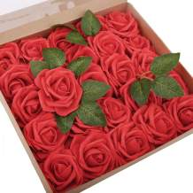 BOMAROLAN Artificial Rose Flowers Real Touch 25pcs Faux Foam Roses Fake Flower Head w/Stem, DIY Wedding Decor Bridal Bridesmaid Bouquets Centerpieces Baby Shower Party Home Decorations (Red)