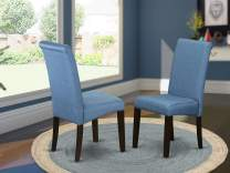 East West Furniture Dining Side Chairs - Luxurious Blue Linen Fabric, Hardwood Cappuccino Finish Legs Modern Parsons Dining Chairs - Set of 2