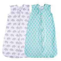 Jomolly Baby Sleeping Sack, 2 Pack Wearable Blanket (Mint & Elephant) (6-12 Months)