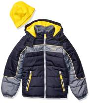 LONDON FOG Boys' Toddler Color Blocked Puffer Jacket Coat with Hat