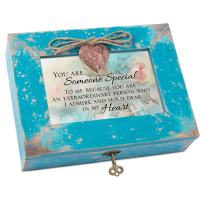 Cottage Garden Someone Special Dear in Heart Teal Distressed Locket Music Box Plays Edelweiss