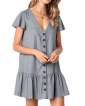 Bbalizko Womens Cute V Neck Short Sleeve Button Down Loose Fit Ruffle Mini Dresses