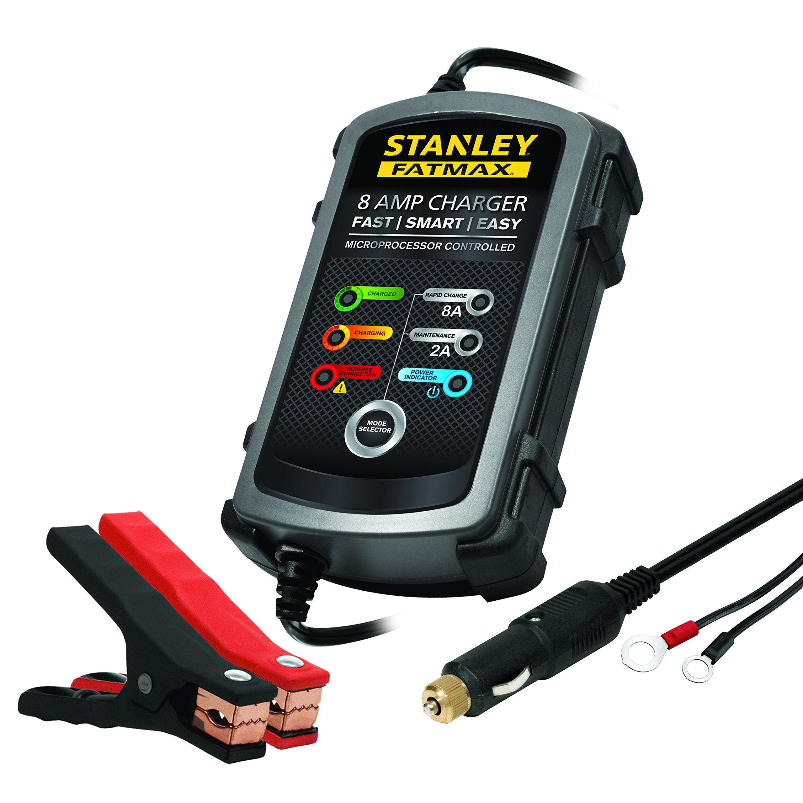 STANLEY FATMAX BC8S Fully Automatic 8A 12V Battery Charger/Maintainer with Cable Clamps