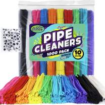 Carl & Kay 1000 Pipe Cleaners [Bonus: 100 Googly Eyes] Bulk Chenille Stems for Classroom Craft Supplies, Assorted Fuzzy Craft Sticks, Creative Kid's Gift