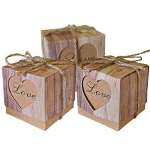Lontenrea 50 pcs Candy Favour Boxes Vintage Kraft Candy Box with 50pcs Twine Rope for Wedding Birthday Party Decorate