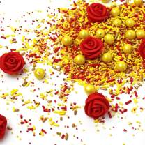Belle Of The Ball Princess Sprinkles  Yellow  Gold  Red  Royal Red Rose Icing Flower 6-9 roses  Sprinkle Mix, 4OZ