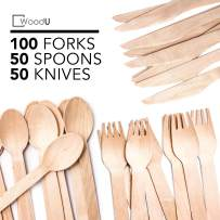 Disposable Wooden Cutlery Set WoodU Utensils All-Natural, Eco-Friendly, Biodegradable, and Compostable Taking Steps for a Greener Tomorrow! (200 pack-