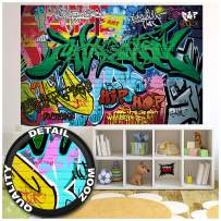 Kid's Room Nursery Poster – Graffiti – Picture Decoration Stencil Colorful Spray Paint Writing Pop Art Street Style Hip Hop Image Photo Decor Wall Mural (55x39.4in - 140x100cm)