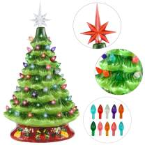 "Joiedomi 15"" Ceramic Christmas Tree with Red Base, Prelit Xmas Tree with Extra Red Star Topper for Home and Office Tabletop Decoration"