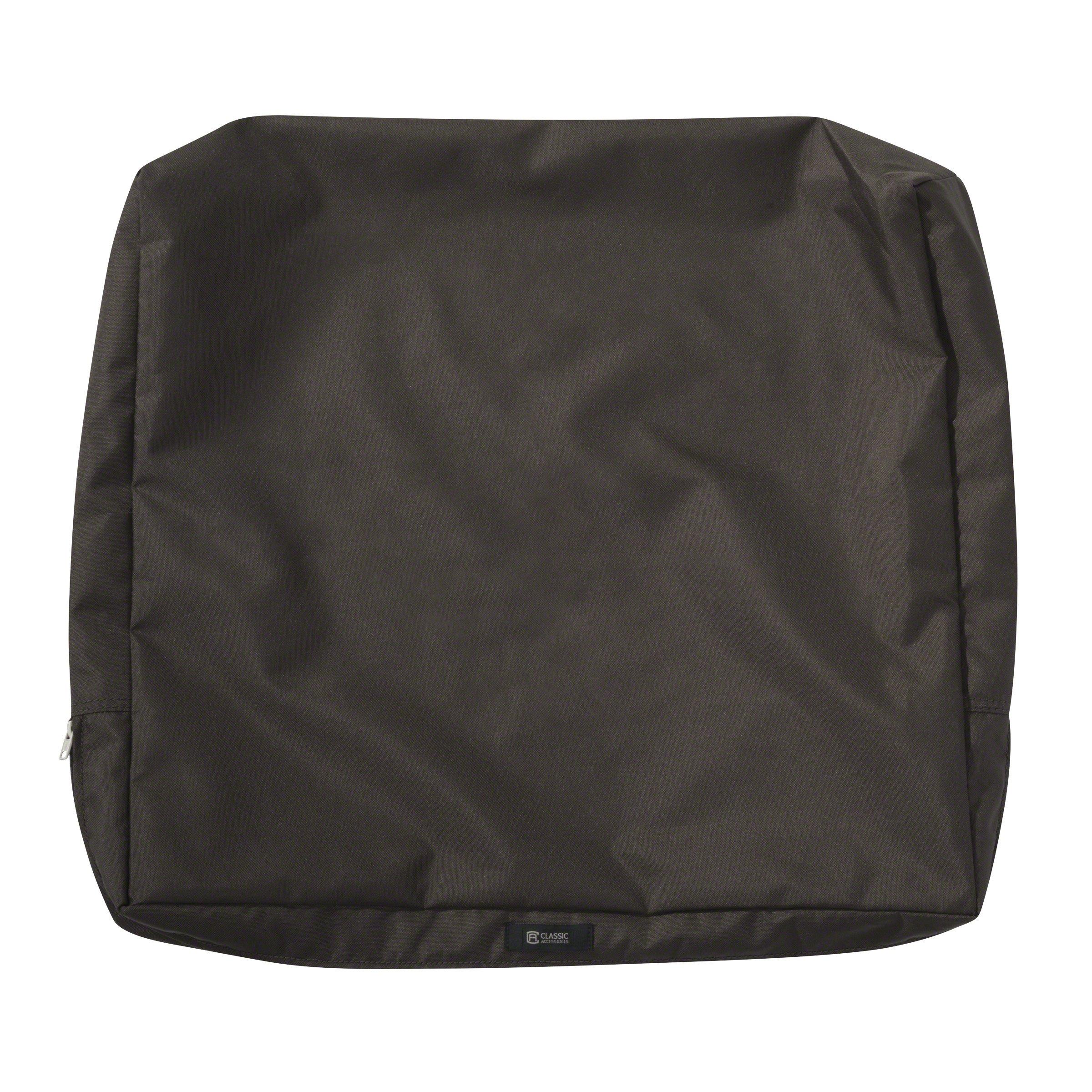 Classic Accessories Ravenna Water-Resistant 23 x 20 x 4 Inch Patio Back Cushion Slip Cover, Espresso