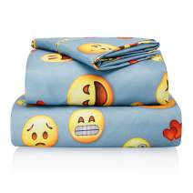 "Chital Twin Bed Sheets for Boys | 3 Pc Colorful Kids Bedding Set | Light Blue Emoji Print | Durable Super-Soft, Double-Brushed Microfiber | 1 Flat & 1 Fitted Sheet, 1 Pillow Case | 15"" Deep"