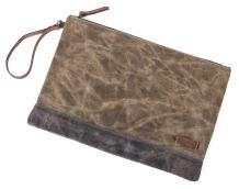 """Gootium Waxed Canvas Zipper Bag - Water Resistant Multipurpose File Pouch for Artists and Office, 13""""x9.4"""", A4 Size, Khaki"""