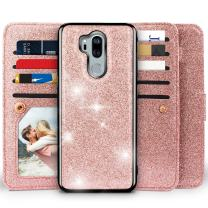 LG G7 Glitter Case,LG G7 ThinQ Case, Miss Arts Detachable Magnetic Case with Car Mount Holder, 9 Card Slots, Magnet Clip, Wrist Strap, Kickstand Function, PU Leather Cover for LG G7 ThinQ -Rose Gold