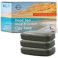 Dead Sea Mud Salt Natural Bar Soap, Minerals Face, Body Cleanser Hand Soap. Helps Acne, Pimples Eczema. Exfoliate Dead Skin, Best Detox for All Skin Types Organic Ingredients Vegan. Men, Women 3Pk 4oz