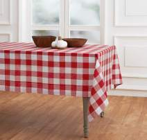 Solino Home 100% Pure Linen Buffalo Check Tablecloth - 60 x 90 Inch, Red & White - Rectangular Linen Tablecloth for Indoor and Outdoor use