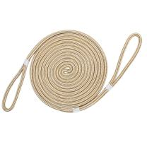 "Extreme Max White/Gold 3006.2382 BoatTector 5/8"" Premium Double Looped Nylon Dock Line for Mooring Buoys, White & Gold – 35'"