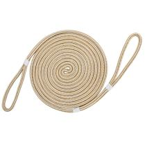"""Extreme Max White/Gold 3006.2382 BoatTector 5/8"""" Premium Double Looped Nylon Dock Line for Mooring Buoys, White & Gold – 35'"""