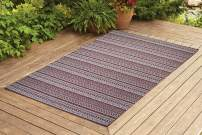 Benissimo Indoor Outdoor Rug Stripes Collection Non-Skid, Natural Sisal Woven and Jute Backing Area Carpet for Living Room, Bedroom, Kitchen, Entryway, Hallway, Patio, Farmhouse Decor 5x7, Brick