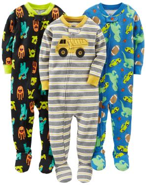 Simple Joys by Carters Baby and Toddler Girls 3-Pack Snug Fit Footed Cotton Pajamas