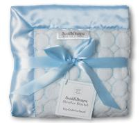 SwaddleDesigns Stroller Blanket, Cozy Microfleece, Pastel Blue Puff Circles with Satin Trim