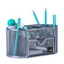Office Supplies Desk Organizer by Mindspace, 8 Compartments + Drawer | Pen Holder For Desk | The Mesh Collection, Silver
