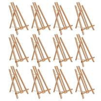 """U.S. Art Supply 14"""" Medium Tabletop Display Stand A-Frame Artist Easel (Pack of 12), Beechwood Tripod, Painting Party Easel Kids Student Table School Desktop, Portable Canvas Photo Picture Sign Holder"""
