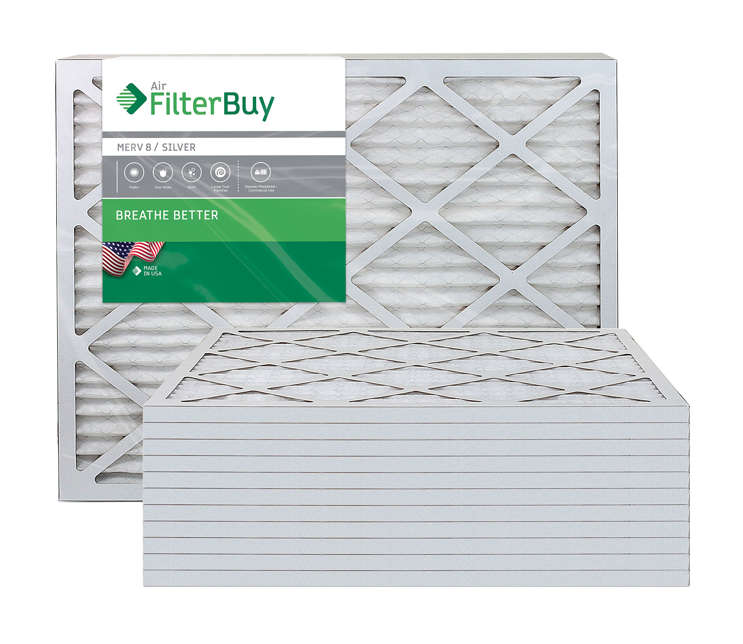 FilterBuy 10x30x1 MERV 8 Pleated AC Furnace Air Filter, (Pack of 12 Filters), 10x30x1 – Silver
