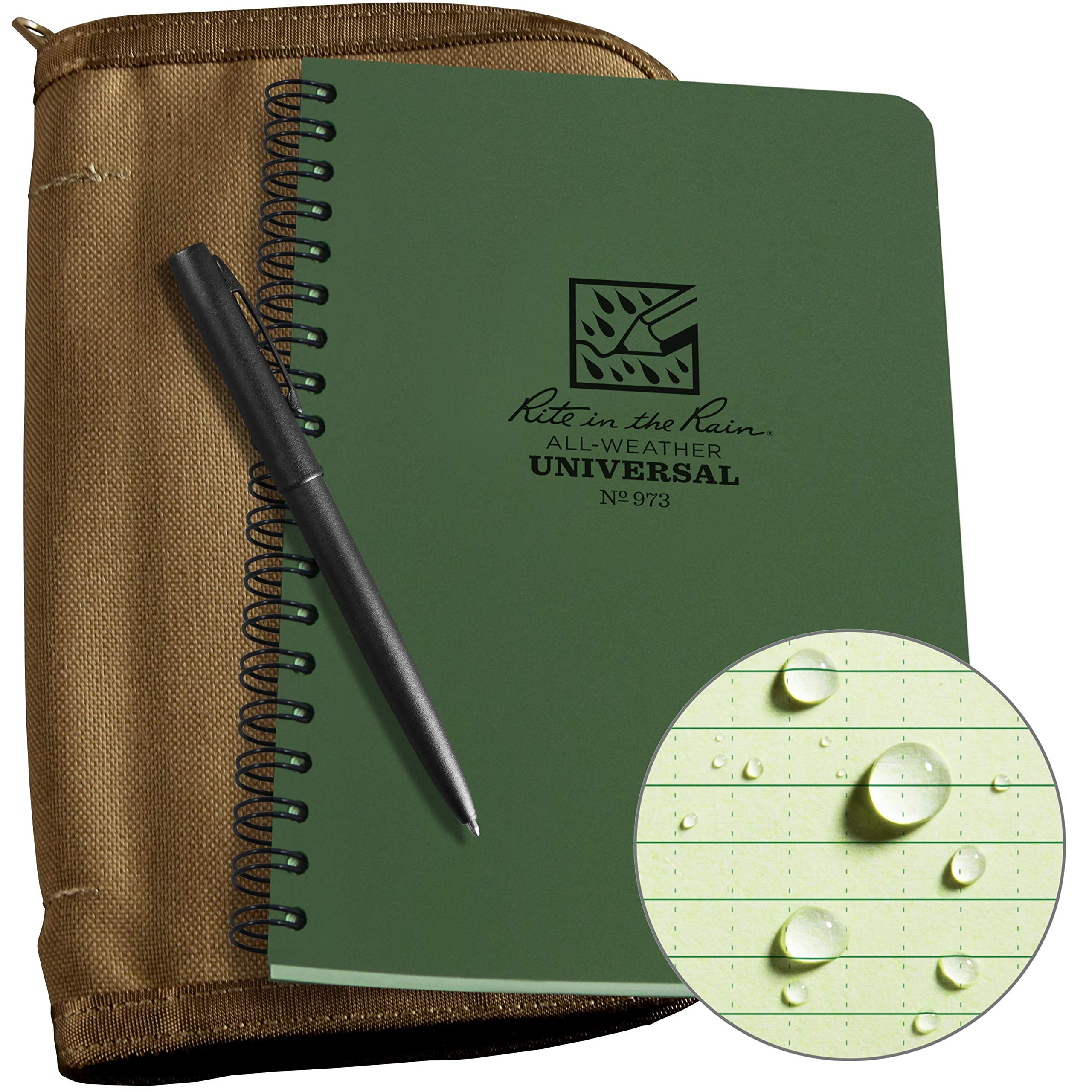 "Rite In The Rain Weatherproof Side Spiral Kit: Tan CORDURA Fabric Cover, 4.625"" x 7"" Green Notebook, and Weatherproof Pen (No. 973-KIT), 8.5 x 5.5 x 0.625"