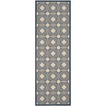 """Safavieh Courtyard Collection CY6112-258 Beige and Navy Indoor/ Outdoor Runner (2'3"""" x 6'7"""")"""