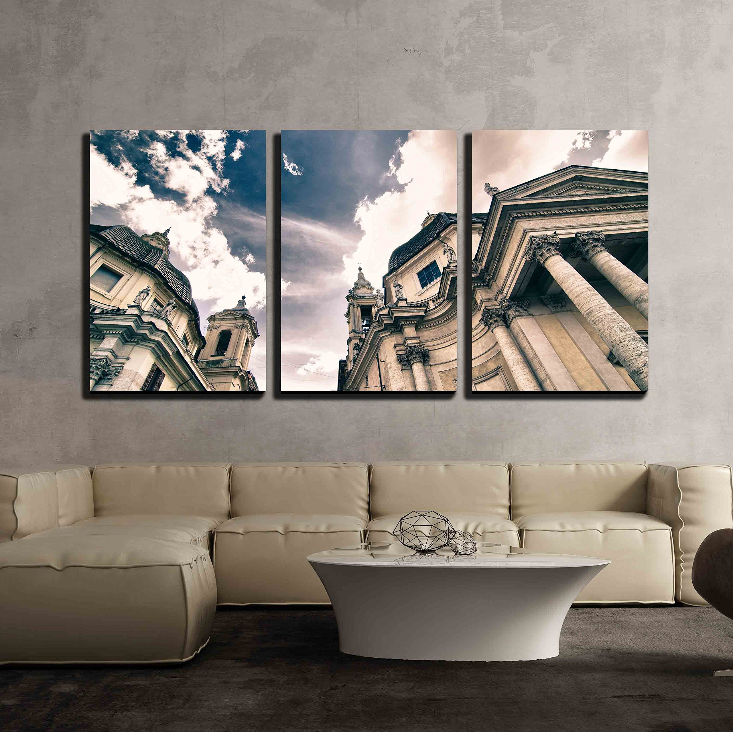 "wall26 - 3 Piece Canvas Wall Art - Piazza Del Popolo in Rome, Italy - Modern Home Decor Stretched and Framed Ready to Hang - 24""x36""x3 Panels"