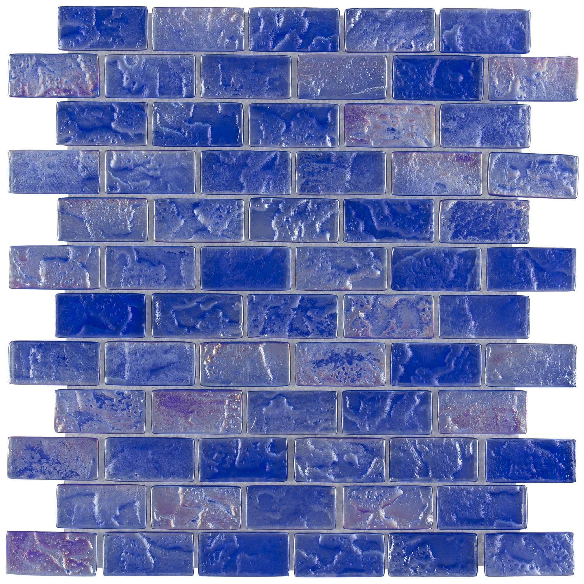MTO0087   Classic Mini Brick Blue Frosted Glossy Glass Mosaic Tile