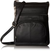 Roma Leathers Genuine Cross Body Purse Bag, Multi-Pocket