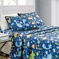 WPM Kids Collection Bedding 3 Piece Blue Twin Size Sheet Set with Flat Fitted Sheets Pillow sham Dinosaur Jungle Park Design (Dinosaur Blue, Twin Sheet Set)