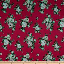 Fabric Merchants Techno Scuba Knit Rose Bouquet, Pink Yard