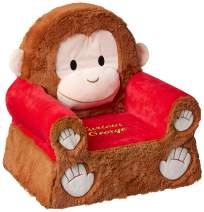 """Animal Adventure   Sweet Seats   Curious George Children's Plush Chair, Brown/Red, Larger :14"""" x 19"""" x 20"""" (54222)"""