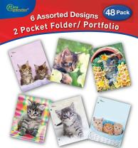 New Generation - Kitten - 2 Pocket Folders / Portfolio 48 Pack Letter Size with 3 Hole Punch to use with Your Binder Heavy Duty Glossy Finish UV Laminated Folder - Assorted 6 Fashion Design.