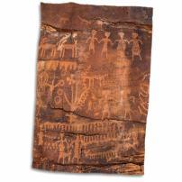 "3D Rose USA-Southwest-Indian Petroglyphs On Sandstone Hand Towel, 15"" x 22"""