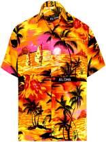 LA LEELA Men's Regular Fit Fashion Short Sleeve Hawaiian Shirt
