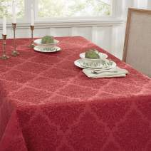 "Town & Country Living Lexington Damask Rectangle Tablecloth, Stain Resistant/ Machine Washable/Cotton Polyester Blend, 60""x102"" Rectangle Red"