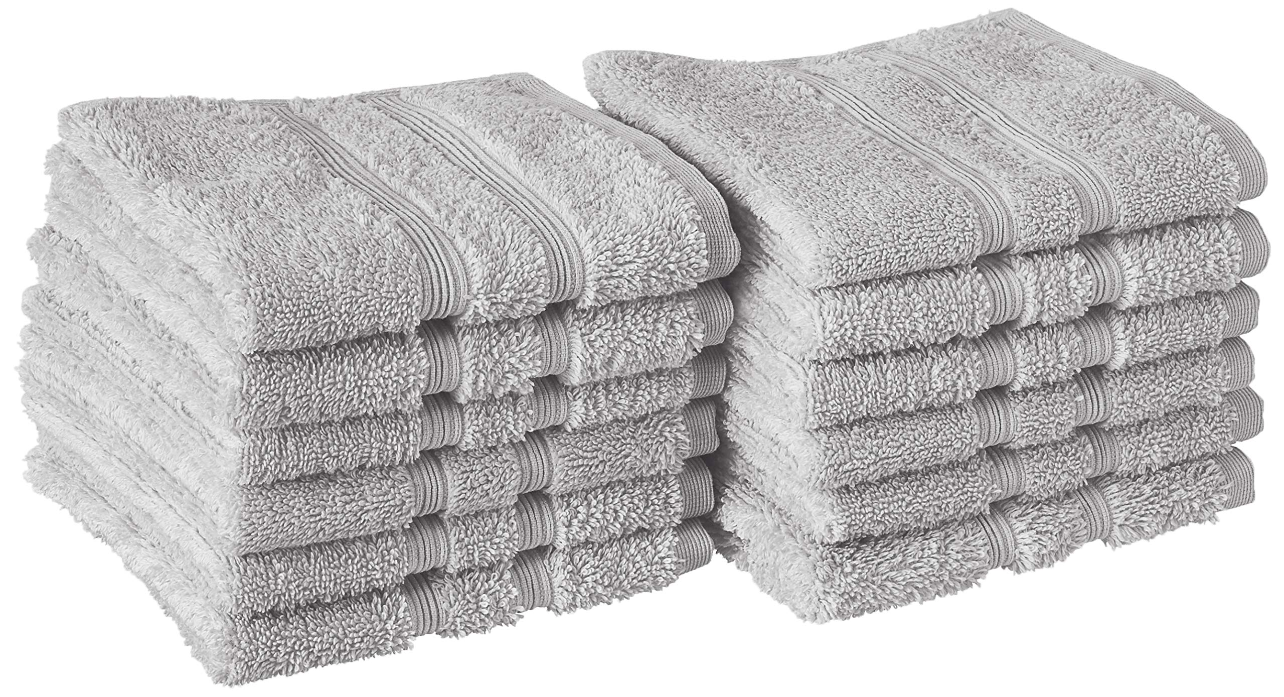 Manor Ridge Turkish Cotton 700 GSM Wash Cloth Set, Super Soft, Heavy Weight & Absorbent, 12-Pack, Grey 12 Count