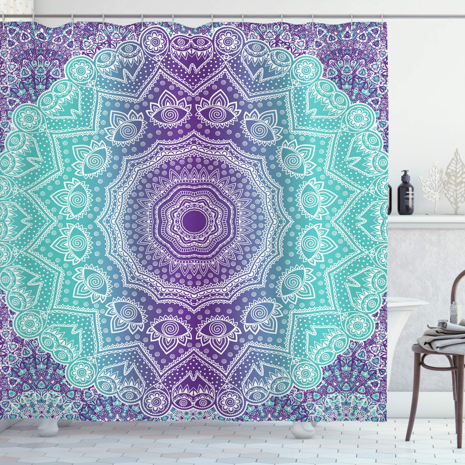 Ambesonne Purple And Turquoise Shower Curtain Hippie Ombre Mandala Inner Peace And Meditation With Ornamental Art Cloth Fabric Bathroom Decor Set With Hooks 70 Long Purple Aqua