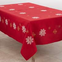 "SARO LIFESTYLE 116.R70104B Neve Collection Snowflake Design Tablecloth, 70"" x 104"", Red"