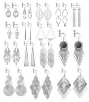 Florideco 15 Pairs Clip on Earrings for Women Fashion Celtic Knot Dangle Earrings Long Bar Earrings Leaf Tear Drop Earrings Tassel Statement Clip-onEarrings Non Piercing Earrings Silver/Gold Tone