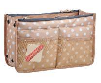 Vercord Updated Purse Handbag Organizer Insert Liner Bag in Bag 13 Pockets Beige Dot Large