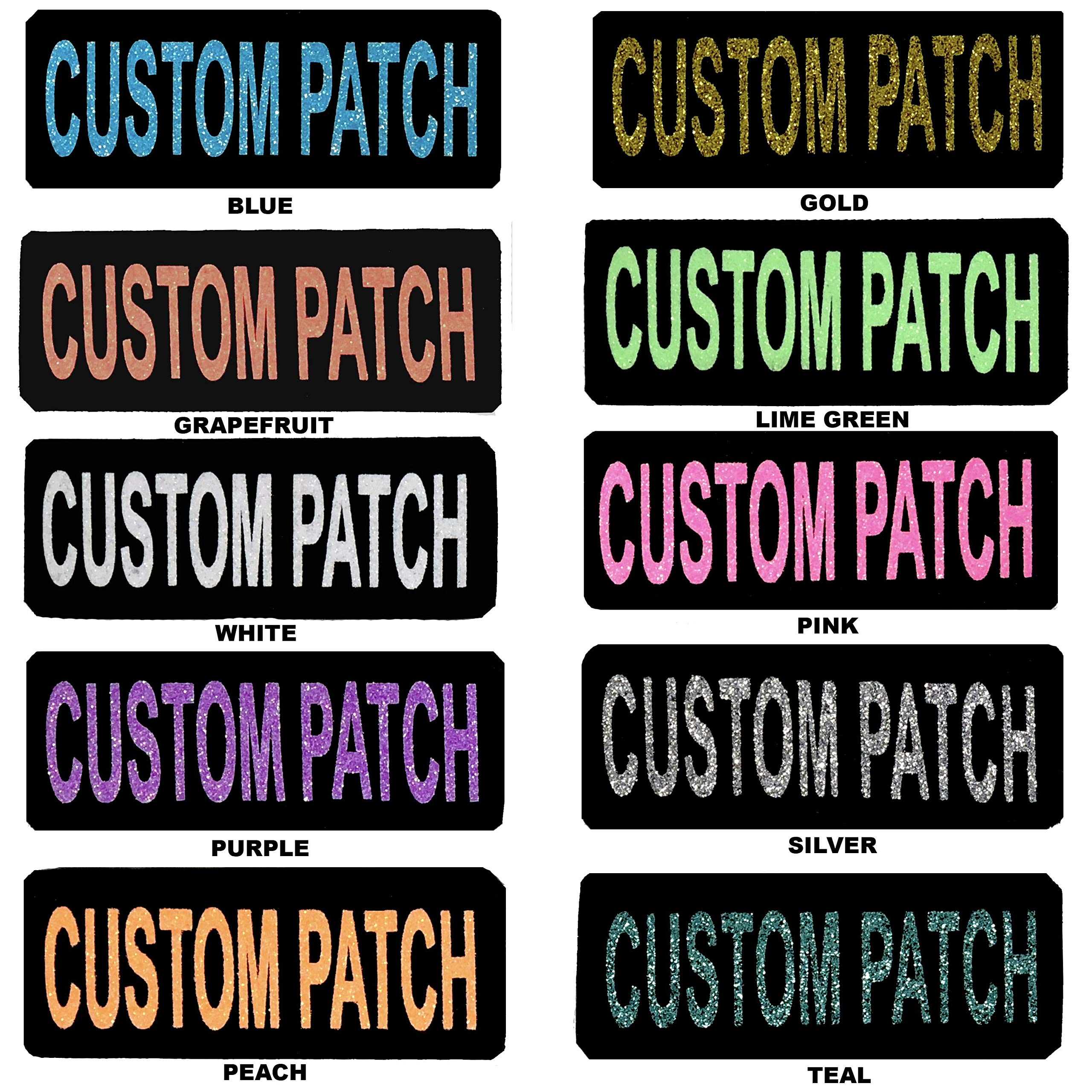 Dogline Custom Patch w/Glitter Letters for Dog Vest, Harness or Collar | Customizable Bling Text | Personalized Patches w/Hook Backing | Name, Agility, Service Dog, ESA