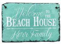 "Sassy Squirrel Handcrafted and Personalized Slate House Sign - Welcome to The Beach House 12""x8"" or 16""x10"" Improve The Curb Appeal of Your Lake House! (12""x8"")"