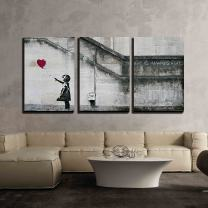 """wall26 - 3 Piece Canvas Wall Art - There is Always Hope - Girl and Red Heart Balloon - Street Art - Guerilla - Modern Home Decor Stretched and Framed Ready to Hang - 24""""x36""""x3 Panels"""