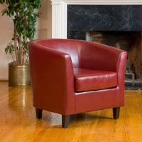 Christopher Knight Home Preston Bonded Leather Tub Club Chair, Oxblood Red