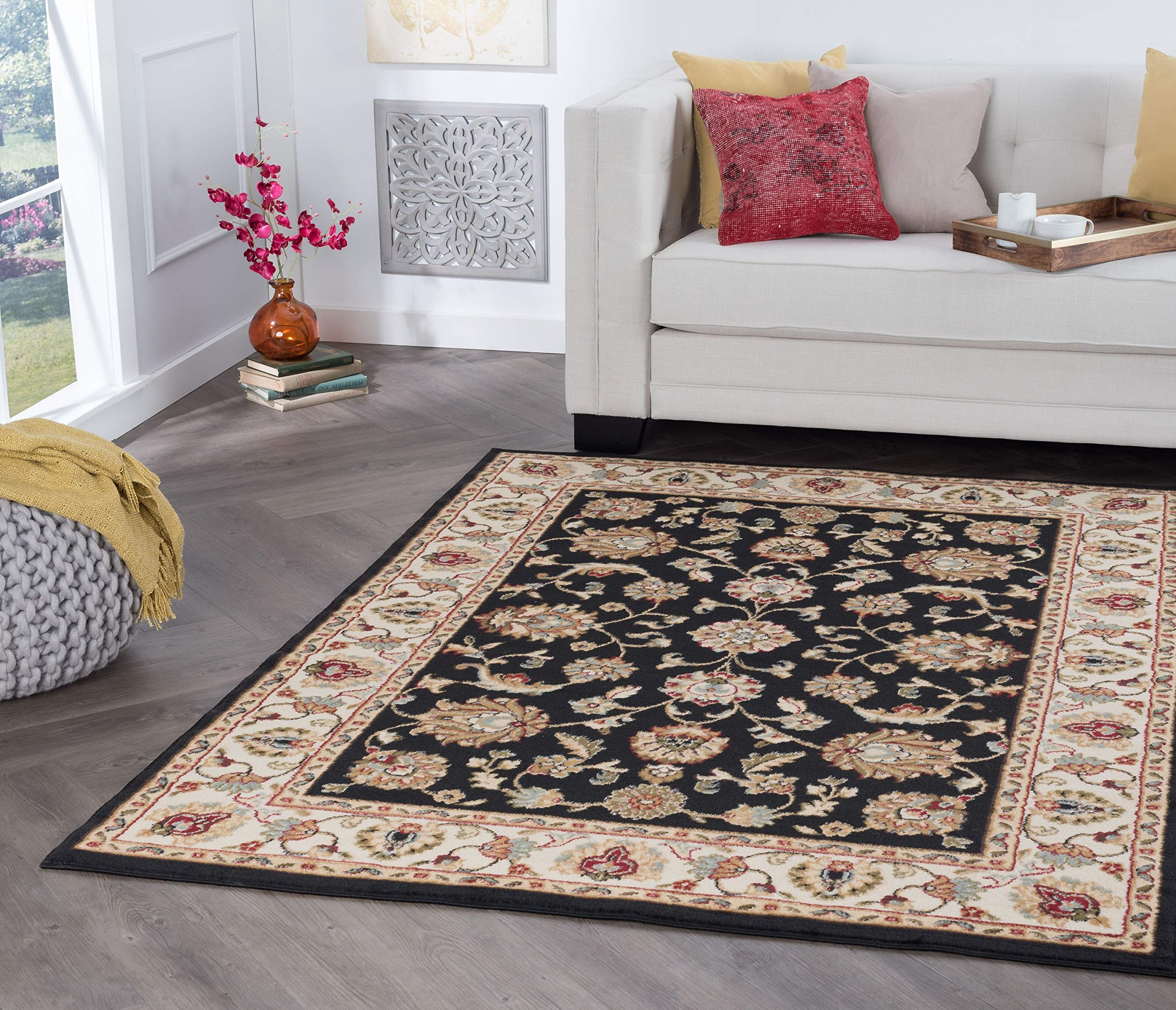 Tayse Charleston Black 4x6 Rectangle Area Rug for Dorm, Kids, Baby, or Nursery Room - Traditional, Oriental